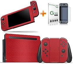 Kit Skin Adesivo Protetor 4D Fibra de Carbono Nintendo Switch + Película de Vidro (Vermelho)