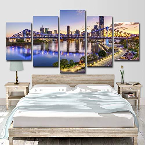 lijuan store 5 Panel wandkunst Handwerk Wohnzimmer Schlafzimmer Hause kinderzimmer dekorative malerei 75 cm Australische Stadt Sonnenuntergang Landschaft