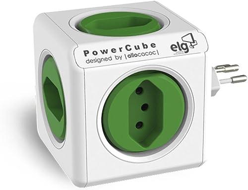 Multiplicador 5 Tomadas Bivolt - PowerCube ELG - PWC-R5, Verde e Branco
