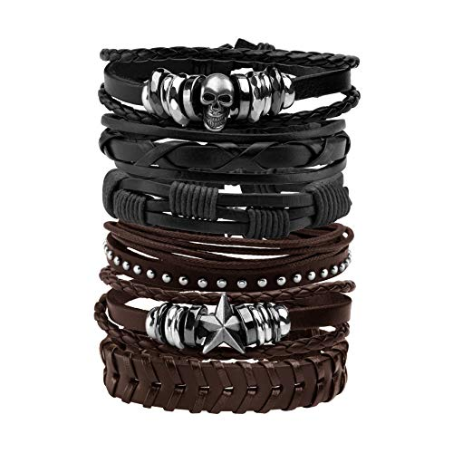 MILAKOO Leather Bracelet Black Brown Braided Wide Wristband Women Men Punk Jewelry Skull