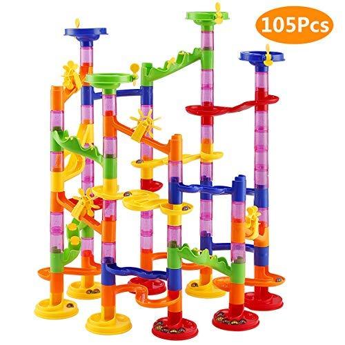 Elover Kugelbahn 105pcs Murmelbahn DIY Bausteine für Kinder mit Glasmurmeln Marble Run Spielzeug für Kinder ab 3 Jahren