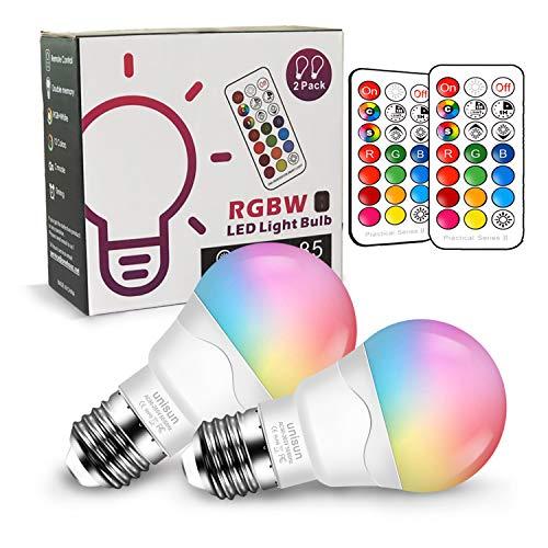 E27 LED Farbwechsel Glühbirne Dimmbar, Äquivalent 40W, Unisun 2700K RGB Schraubglühbirnen mit Fernbedienung, warmweiße energiesparende Nachtlampe (2-er Pack) [Energieklasse A+]