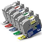 5x Labelwell 18mm x 8m Sostituzione Nastro Compatibile per Brother Tz Tze-241 Tze-441 Tze-541 Tze-641 Tze-741 per Brother PT-D450VP PT-D400 PT-E300VP PT-E500VP PT-P900W PT-P950NW PT-P750W