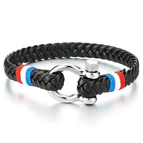 COOLSTEELANDBEYOND Bracelet Vis Manilles d'ancrage - Homme Femme Noir Tressé Cuir avec Rouge Blanc Bleu Cordon Coton - Nautique Marin