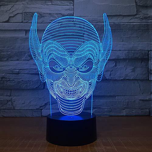 3D Clown masker Night Light Illusion Lamp 7 Kleur Veranderend, met afstandsbediening met USB-kabel Het is een verjaardagscadeau voor schattige kinderen en kan ook worden gebruikt voor huisdecoratie