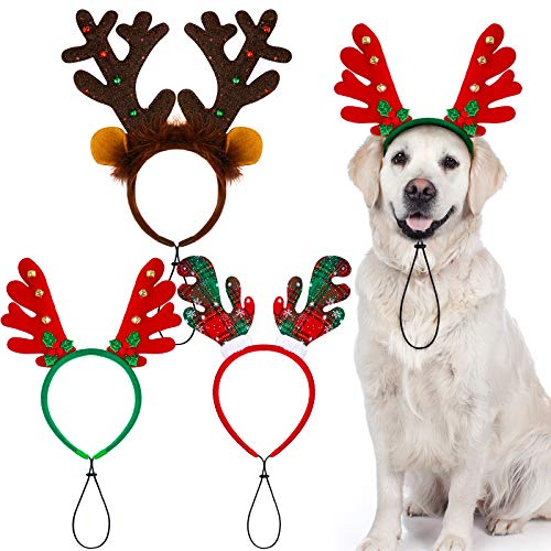 Aneco 3 Pack Christmas Reindeer Dog Headband Puppy Xmas Antlers Headwear Holiday Pet Costume Accessory
