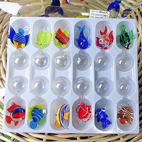 THREE 12pcs Benutzerdefinierte mundgeblasene Murano Floating Glas Tropische Fische Mini Figuren Aquarium Dekoration Anhänger Glas Tierstatuen, blau