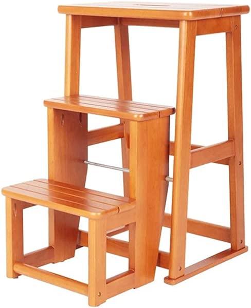 Folding 3 Steps Stool Ladder Household Stair Chair Oak Wood Stepladders For Kids Adults Lightweight Home Garden Tool Heavy Duty Max 150kg