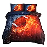 NTBED Rugby Comforter Sets for Boys Teens,3D Sports Bedding Full,American Football Printed Quilt Sets with 2 Matching Pillow Shams