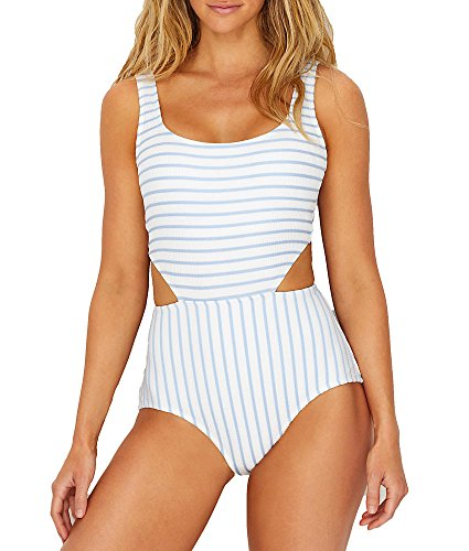 Anne Cole Studio Women's Textured Sexy One Piece Swimsuit, Blue Stripe, 14