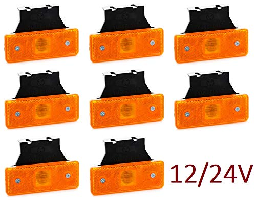 VNVIS Lot de 8 feux de position à LED orange 24V 12V avec supports en caoutchouc pour châssis remorque camion remorque camion