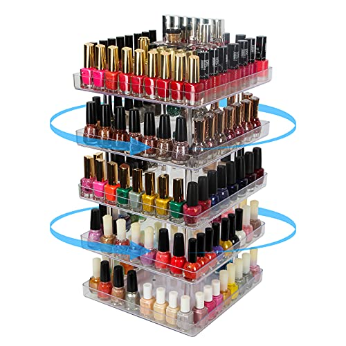 JACKCUBE DESIGN 5 Tier Clear Nail Polish 360 Rotating Display Rack Organizer Stand Makeup Cosmetics Storage Box Carousel Shelf with Acrylic Guard(5tier) – :MK387-5