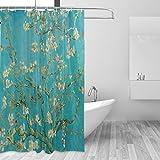 CPYang Van Gogh Plum Blossom Polyester-Duschvorhänge, wasserdicht, schimmel- & schimmelresistent, Badezimmerdekoration, mit 12 Vorhanghaken, 182,9 x 182,9 cm
