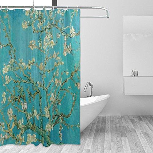 CPYang Van Gogh Duschvorhang, Polyester, Pflaumenblüte, wasserdicht, schimmel- & schimmelresistent, Badvorhang für Badezimmer, Dekoration, mit 12 Vorhanghaken, 183 x 183 cm