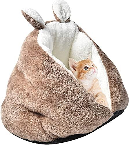 MOTOY Cama cueva de gato nido de gato engrosado semi cerrado pequeño gato cama gato sueño profundo nido cómodo para invierno gato sueño profundo nido nido sofá lavable para gato