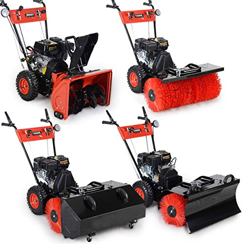 BRAST Benzin Kehrmaschine Schneefräse Schneeschieber 4,8kW(6,5PS) 80cm Breite Elektrostart Schnellwechsel-System 4 in 1 Gerät