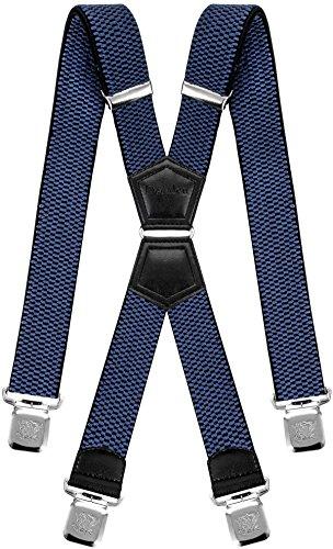 Decalen Hosenträger für Herren mit 4 Starken Clips X Form Lang Eine Größe Passt Alle Verschiedenen Farben (Blau)