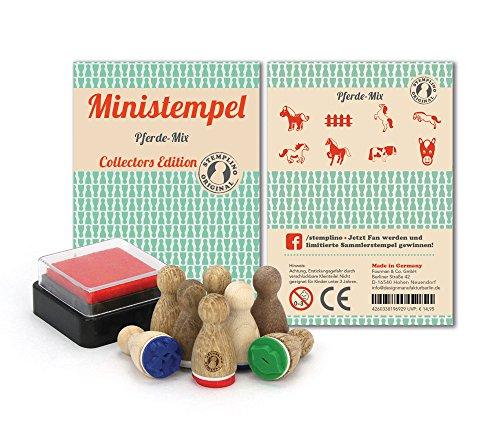 Stemplino Stempelset Pferde - 8 Ministempel aus Holz Plus Stempelkissen, Mini Stempel Set Mix: Pferde & Ponys auf der Koppel