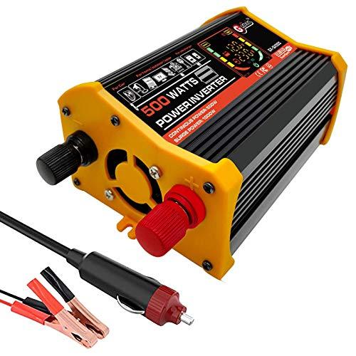 XHNXHN Inversor de corriente 500 W/1000 W pico DC 12 V a CA 220-240 V convertidor de coche 12 V, un enchufe internacional y dos adaptadores USB de 2.1 A y 12 V para encendedor de cigarrillos
