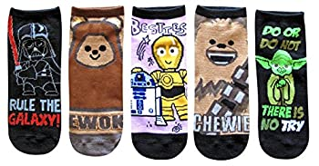 Star Wars Ewok Vader Droids Chewie Yoda Juniors/Womens 5 Pack Ankle Socks Size 4-10