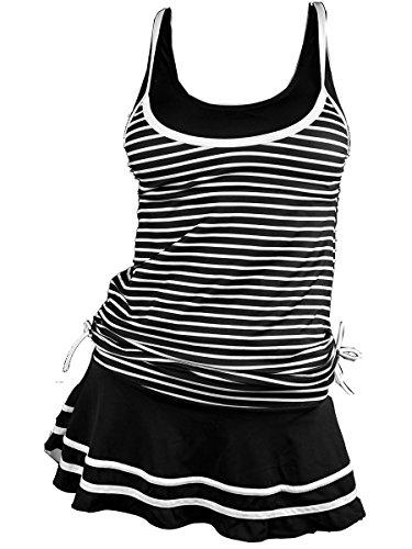 MiYang Women's Tankini Striped Vintage Swim Dress Black Large