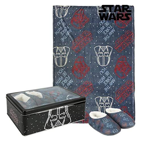 Asditex Star Wars Set de Regalo Manta y Pantuflas en Caja metálica (30-31)