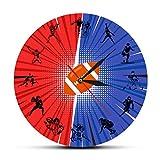 xinxin Relojes de Pared Rugby Fútbol Reloj de Pared Decoración para el hogar Jugador de fútbol Siluetas Reloj silencioso Reloj de Pared Sala de Deportes Arte de la Pared Relojes Colgantes
