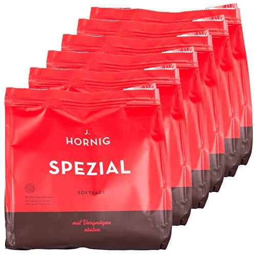 J. Hornig Kaffeepads Spezial, geeignet für Kaffeepadmaschinen, 96 Softpads, 6er Pack (6 x 16 Kaffee-Pads)
