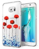 AIsoar Coque Samsung Galaxy S7 Edge, Housse Protection Mignon Premium TPU Silicone Bumper Etui [Liquid Crystal] Ultra Mince Transparent/Exact Fit/Souple pour Galaxy S7 Edge (Fleur)