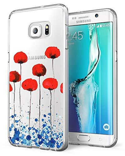 AIsoar Coque Samsung Galaxy S7 Edge, Housse Protection Mignon Premium TPU Silicone Bumper Etui [Liquid Crystal] Ultra Mince Transparent/Exact Fit/Souple pour Galaxy S7 Edge (Fleur)