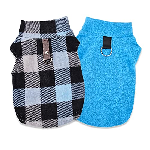 Sebaoyu Dog Clothes Sweater for Small Medium Winter Warm Fleece Pet Puppy Vest Dog Chihuahua Outfit with Leash Ring Coat Cat Clothing Soft French Bulldog Jacket Set of 2 (Blue, Medium)