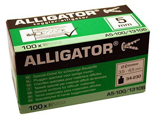 100 TOGGLER Alligator Spezial-Dübel A5 für massive Wände