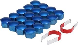 mewmewcat Conjunto de 20 unidades universais de 17 mm de plástico cromado para rodas de carro com tampas de parafuso