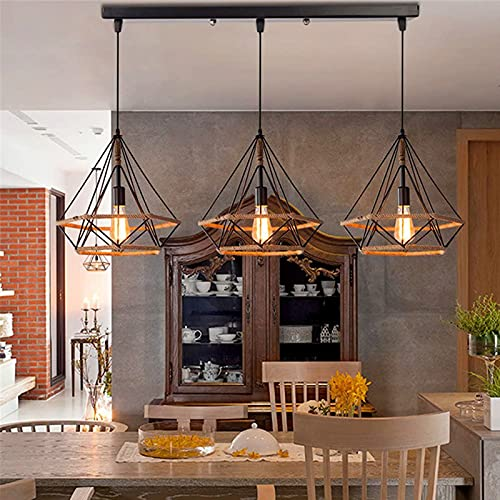 LANTING lámpara colgante antigua 3 Lámpara Retro, industrial, Iluminación Colgante creatividad cuerda de cáñamo, forma de diamante, diseño de jaula de pájaros, vintage, cocina, Enchufe: E27 Ø25*H26CM