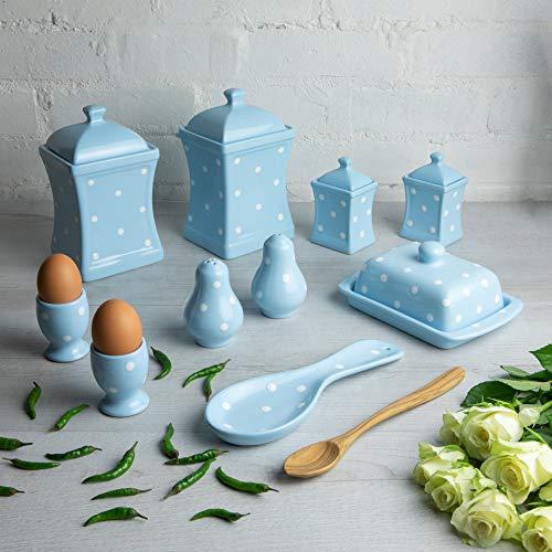 City to Cottage Beurrier à couvercle en céramique bleu ciel à pois blancs peint à la main, Storage Set