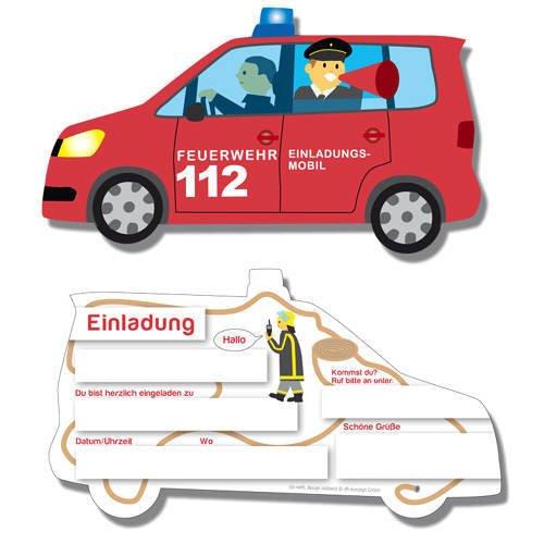 DH-Konzept Einladungskarten Spannende Feuerwehr 6er Pack