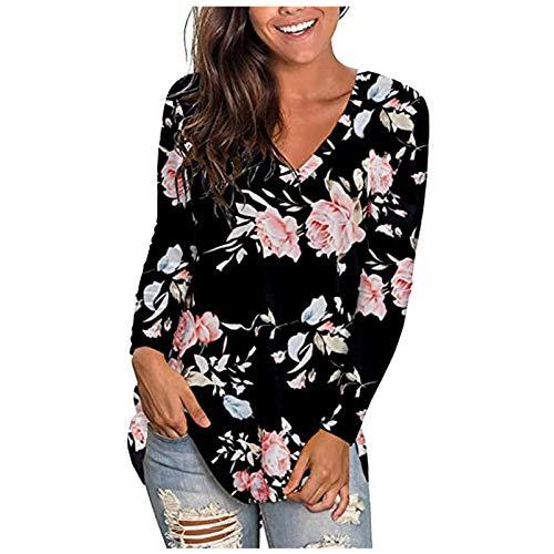 Dicomi - Felpa da donna autunno/inverno, alla moda, con stampa floreale, a maniche lunghe, scollo a V Colore: rosa. M