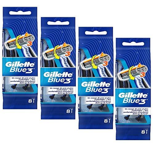 Gillette - lot de 4 packs blue3 rasoirs jetables 8 pc.edition football