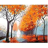 秋の風景画壁アートキャンバス絵画ポスターリビングルーム家の装飾壁の装飾(60X80Cm)-24x32インチフレームなし