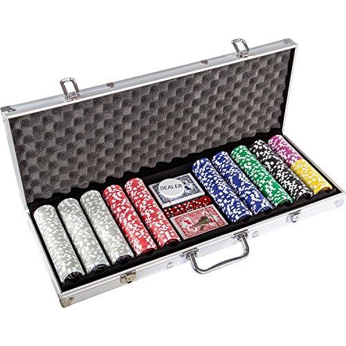 Maxstore Ultimate Pokerset mit 1000 hochwertigen 12 Gramm METALLKERN Laserchips, inkl. 2x Pokerdecks, Alu Pokerkoffer, 5x Würfel, 1x Dealer Button, Poker, Set, Pokerchips, Koffer, Jetons - 2