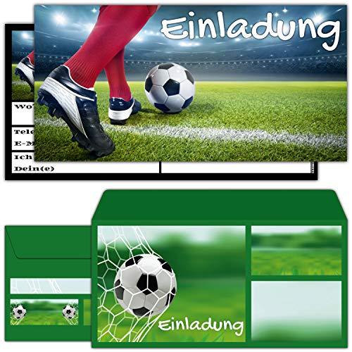 12er Set FUSSBALL Einladungskarten mit Umschlag zum Geburtstag oder Fußball-Party - Einladung für Jungen Mädchen Kindergeburtstag von BREITENWERK