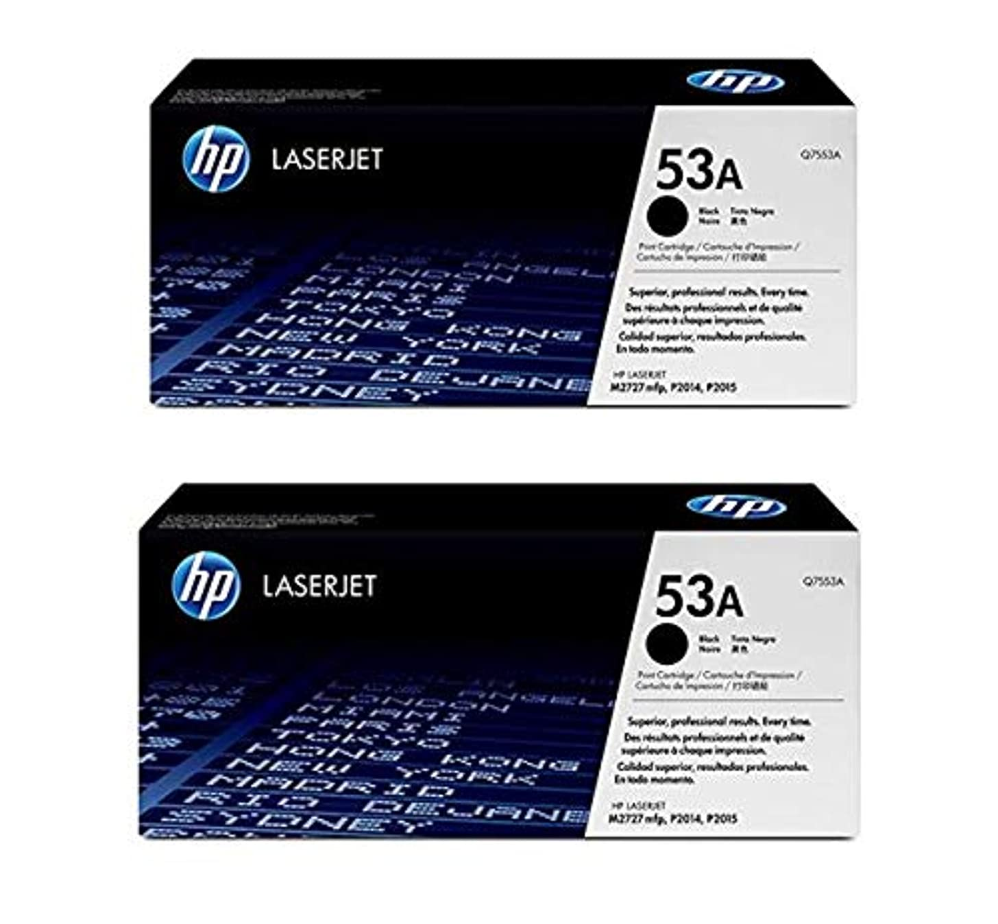 HEW Q7553A 53A Black Print Cartridge M2727 P2014 P2015 2-Packs