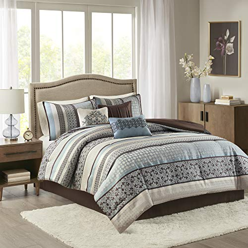 Madison Park Cozy Comforter Set-Luxurious Jaquard Traditional Damask Design All Season Down Alternative Bedding with Matching Shams, Decorative Pillow, King(104x92), Princeton Blue, 7 Piece