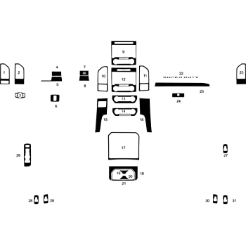 Rvinyl Rdash Dash Kit Decal Trim for Ford F-150 2015-2020 Brushed Black Aluminum