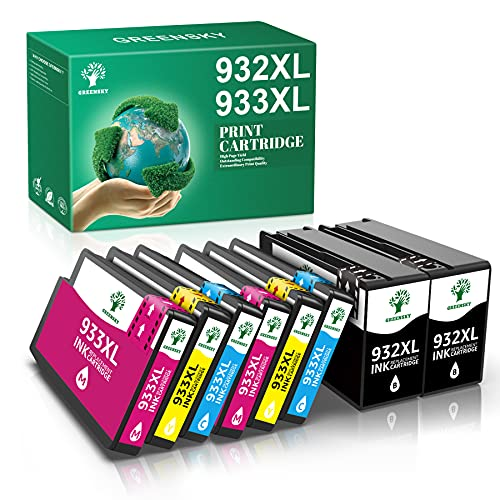GREENSKY 932XL 933XL ricambio Cartucce d'inchiostro di compatibili per HP Officejet 6100 6600 6700 7110 7510 7610 7612 2 Nero 2 Ciano 2 Magenta 2 Giallo (confezione da 8)