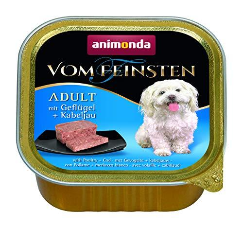 animonda Vom Feinsten Adult Hundefutter, Nassfutter für ausgewachsene Hunde, mit Geflügel + Kabeljau, 22 x 150 g