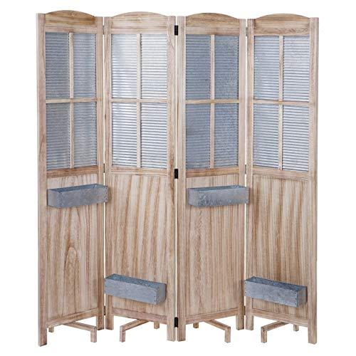 Mendler Paravent HWC-D26 Pflanzkörbe, Raumteiler Trennwand spanische Wand Sichtschutz, Holz Metall 170x161x29cm