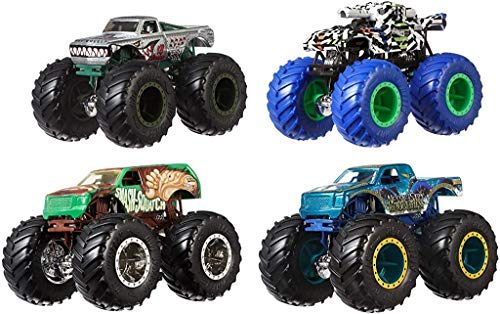 Hot wheels Monster Trucks , pack de 4 coches de juguete escala 1:64, modelos surtidos (Mattel GBP23)