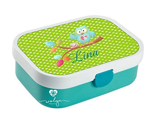 wolga-kreativ Brotdose Lunchbox Bento Box Kinder Eule am AST mit Namen Rosti Mepal Obsteinsatz für Mädchen Jungen personalisiert Brotbüchse Brotdosen Kindergarten Schule Schultüte füllen