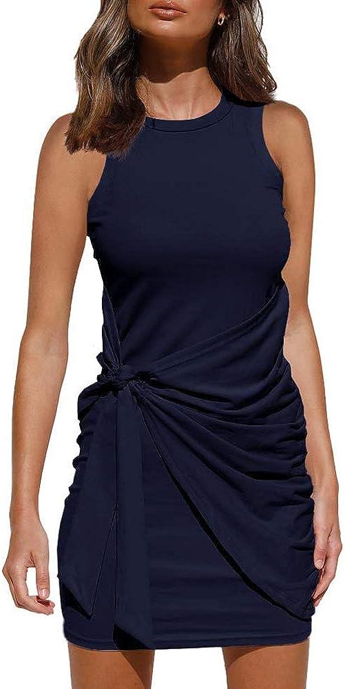 OWIN Women's Summer Casual Sleeveless Tank Dress Crewneck Bodycon Ruched Tie Waist Mini Dresses